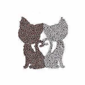Aplique Gatos com Missanga Bege e Marrom