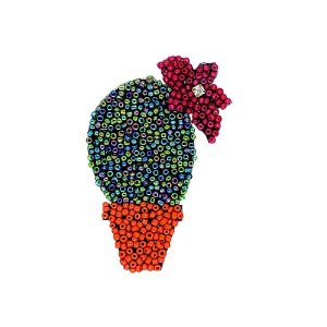 Aplique Cacto com Flor Missanga Multicolor