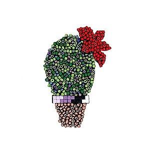 Aplique Cacto com Flor Missanga Verde Escuro e Verde Claro
