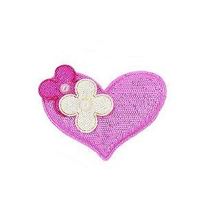 Aplique em Tecido de Coração com Pérola Rosa 20 Unidades