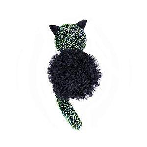 Aplique Gato com Missanga e Pompom Preto
