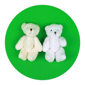Mini Ursinhos em Pé Branco 10cm Chaveiro 5 Unidades