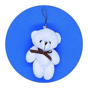 Mini Ursinho em pé Branco 11cm com Pendente e Laço 50 unid