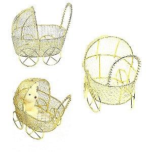 Carrinho de Bebê Aramado Dourado 12 unidades