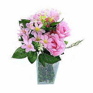 Buquê de Rosa Grande Rosa - 5 Botões + Folhagem Noiva Decor
