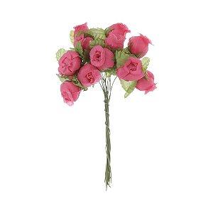 Mini Rosa Artificial em Cetim 72 Unidades Rosa Pink