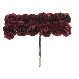Mini Rosa de Papel 72 Unidades Marsala Vinho