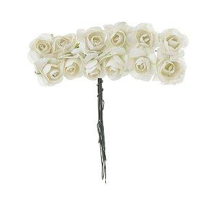 Mini Rosa em Papel 144 Unidades Branca