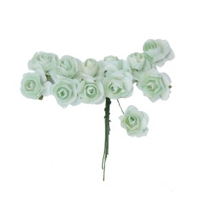 Mini Rosa de Papel 72 Unidades Verde Água