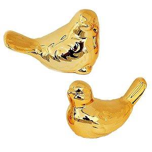 Kit Passarinho Dourado em Cerâmica 10cm + 9cm