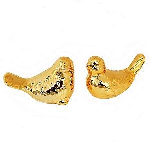 Kit Passarinho Dourado em Cerâmica 10 cm + 9 cm