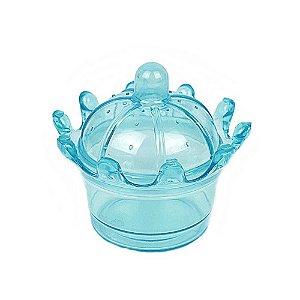 Mini Coroa em Acrílico Azul Transparente 20 unidades