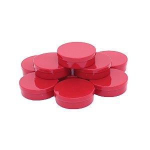 Latinha em plástico redonda Vermelha 14 unidades