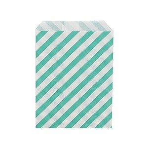 Saquinho de Papel Listrado Verde 13cm x 18cm 20 unidades
