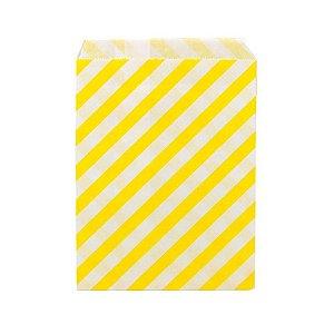 Saquinho de Papel Listrado Amarelo 13cm x 18cm 20 unidades