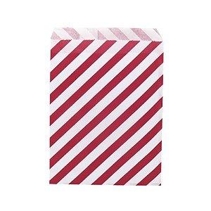 Saquinho de Papel Listrado Vermelho 13cm x 18cm 20 unidades