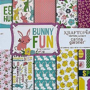 Bloco de Papel Cardstock Estampado 30,5 x 30,5 Bunny Fun Páscoa Divertida