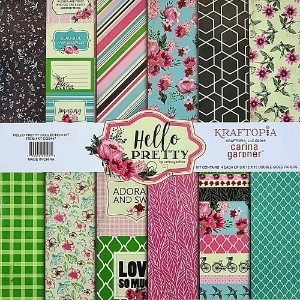 Bloco de Papel Cardstock Estampado 30,5 x 30,5 Hello Pretty