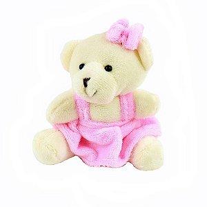 Mini Ursinho Sentado 8cm Vestido Rosa Plush