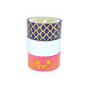 3 Unidades Fita Adesiva Washi Tape Metalizado Beijo