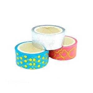 Fita Adesiva Washi Tape Metalizado Scrap Magia 3 Unidades