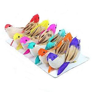 Passarinhos Artificiais Penas Naturais Coloridos 7,5cm 12 Unidades