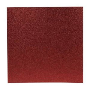 Papel Cardstock Scrapbook Glitter Vermelho 5 Folhas