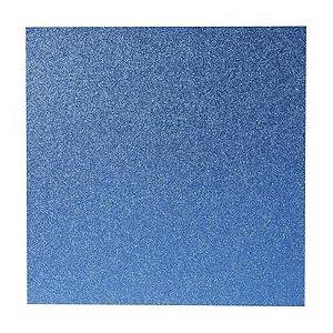 Papel Cardstock Scrapbook Glitter Azul Escuro 5 Folhas