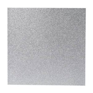 Papel Cardstock Scrapbook Glitter Prata 5 Folhas
