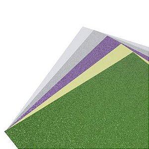 Coleção Papel Cardstock Scrap Glitter Primavera 5 Folhas