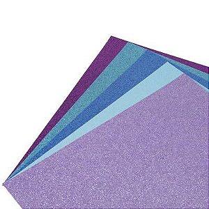 Coleção Papel Cardstock Scrap Glitter Fundo do Mar 5 Folhas
