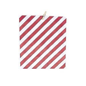 Kit Embalagem Listrada Vermelha e Branca + Mini Pregador 20 Unidades