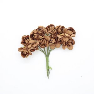 Mini Rosa de Papel Marrom 72 Unidades