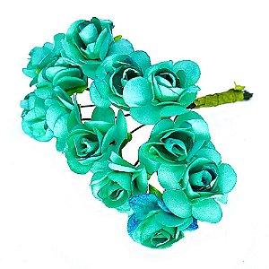 Mini Rosa de Papel Verde Esmeralda 72 Unidades