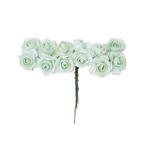 Mini Rosa de Papel Verde Água 72 Unidades