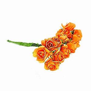 Mini Rosa de Papel Laranja 72 Unidades