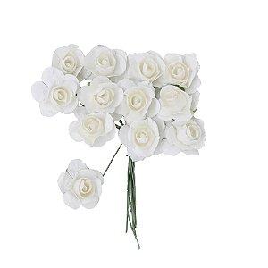 Mini Rosa de Papel Branca 72 Unidades