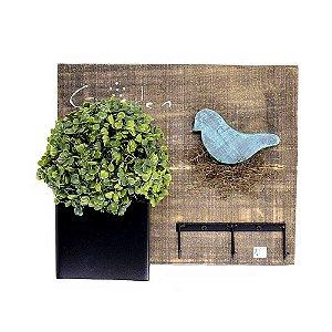 Quadro Madeira Cabideiro Rústico Pássaro + Bola de Buchinho