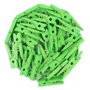 50 Unidades Mini Pregadores Verde 2,5 cm