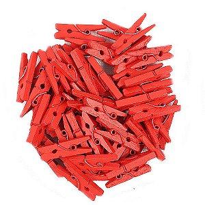 50 Unidades Mini Pregadores Vermelho 2,5 cm