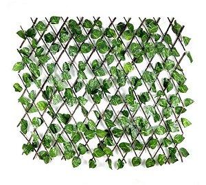 Treliça em Madeira Folhas de Hera Artificial 1 m x 1 m