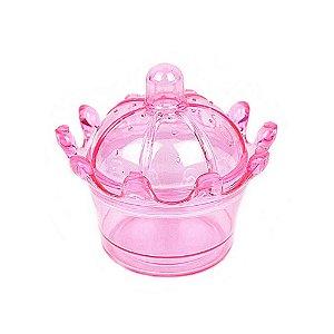 10 Unidades Mini Coroa Acrílica Rosa Transparente