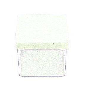 10 Unid. Caixa em Acrílico 5 cm x 5 cm Tampa Branca