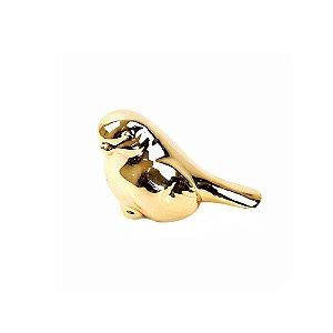 Passarinho em Cerâmica Dourado 7,5 cm