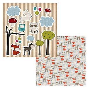 Coleção Papel Cardstock Raposinha e Amigos 2 Folhas