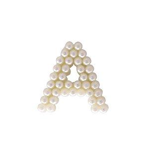 Aplique Letra A com Pérola 3 cm Marfim