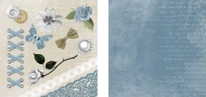 Papel para Scrapbook Desenhos 30,5x30,5 Art0009 Romântico Azul