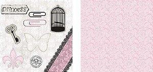Papel para Scrapbook Desenhos 30,5x30,5 Art0010 Princesa