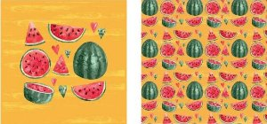 Papel para Scrapbook Desenhos 30,5x30,5 Art0017 Melancia