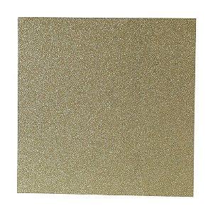 Papel Cardstock Scrap Glitter Dourado 5 Folhas